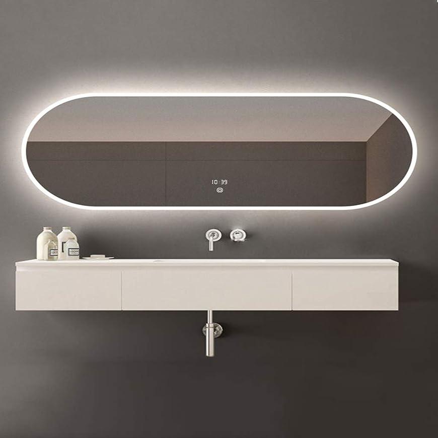 クラックポットアラバマ悩むSWNE LED照明付き浴室壁掛けミラー+防曇+調光対応タッチボタン+ IP44防水、化粧用化粧化粧品または剃毛、防爆