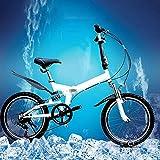 Bicicleta plegable liviana, bicicleta plegable portátil, ruedas de 20 pulgadas, con guardabarros delanteros y traseros y tren motriz de 6 velocidades para viajar en la ciudad, desplazarse al trabajo y