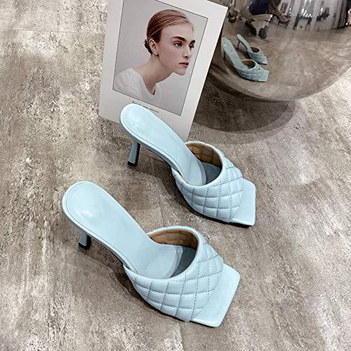 Zapatillas Romanas para Mujer Sexy PU Diamante Punta Cuadrada Punta Abierta Zapatillas Ligeras de tacón Alto Zapatillas de Moda de Verano Sandalias para Mujer Zapatos de Fiesta