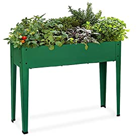 Raised Garden Bed for Vegetables Elevated Planter Box with Legs Outdoor Patio Flower Herb Container Gardening 5 SIZE: 40''(L) x 10''(W) x 31''(H) overall, planter deep: 8.3 inch, holds about 1.5 cubic feet soil, provide ample growing space to raise vegetables, herbs, flowers and plants METAL: Made of stable galvanized steel raised garden bed with anti-rusty green coating, not made of wood which may rot. It can place outside or indoor for long time use DRAINAGE: In the middle of the cart is a drainage hole and drainage line to prevent waterlogging, planter can planted directly in the bed