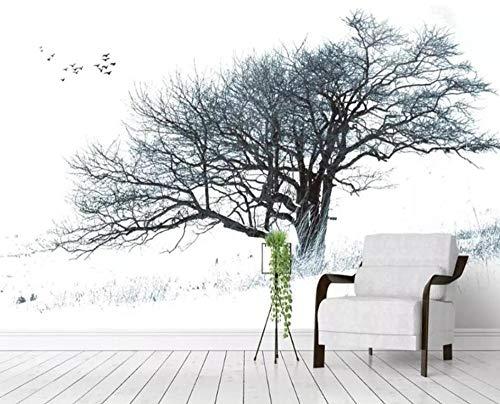 3D vliesbehang, fotovlies, premium fotobehang, fotobehang, modern Noordse abstracte grote boom, zwart en wit, zware sneeuwval, boom, achtergrond, muur, 3D wallpaper 430*300 430 x 300.