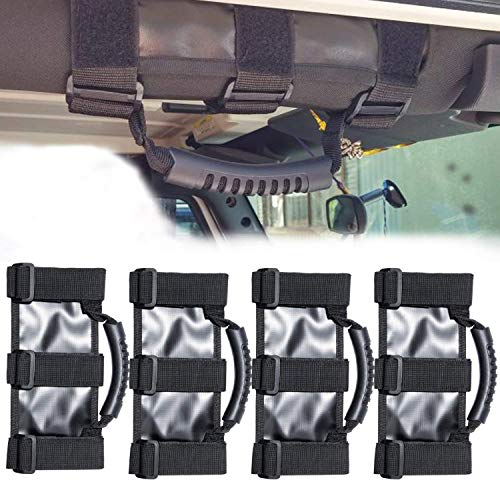 4X Roll Bar Grab Handles Grip Handle for Jeep Wrangler YJ TJ JK JK JL JLU Sports Sahara Freedom Rubicon X & Unlimited 1955-2020 (Heavy Duty Black)