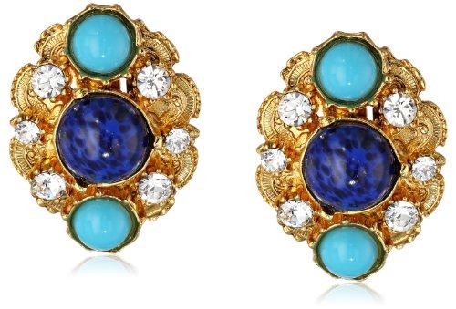 Ben-Amun Jewelry ゴールドトーン 模造宝石クリップオンイヤリング