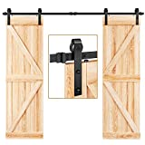 EaseLife 8 FT Double Door Sliding Barn Door Hardware Track Kit,Heavy Duty,Easy Install,8FT One Piece Track,Slide Smoothly Quietly,Fit Double 24' Wide Door (8FT Track Double Door Kit)
