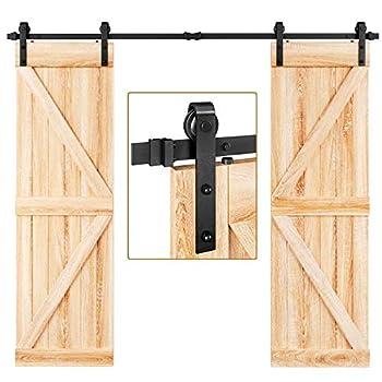 EaseLife 8 FT Double Door Sliding Barn Door Hardware Track Kit,Heavy Duty,Easy Install,8FT One Piece Track,Slide Smoothly Quietly,Fit Double 24  Wide Door  8FT Track Double Door Kit
