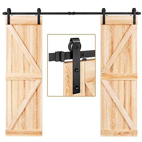 EaseLife 8 FT Double Door Sliding Barn Door Hardware Track Kit,Heavy Duty,Easy Install,8FT One Piece Track,Slide Smoothly Quietly,Fit Double 24' Wide Door (8FT Track Double Door Kit)