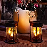 Solar Garden Lanterns Outdoor Hanging Flickering Candle Lights with Raindrop Decorative Mission Lights for Patio, Yard, Table, Pathway Decoration (2Pack Black)