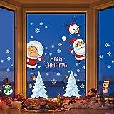 Myir JUN Natale Adesivi, Natale Vetrofanie Rimovibile Adesivi Natalizi Decorazioni Finestre Natale Addobbi Fai da Te Finestra Sticker Riutilizzabile Adesivi Vetro Natale (Albero di Natale)