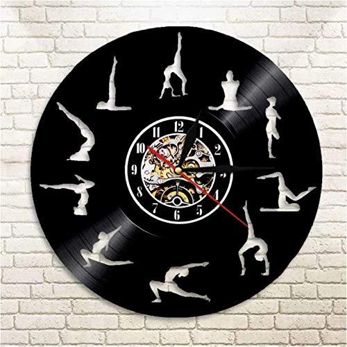 Regalo Reloj de pared de vinilo Reloj con registro Yoga Pose Reloj vintage Reloj de cuarzo silencioso Reloj de pared Hecho a mano Regalos personalizados para niños y adultos 12 pulgadas -12 pul