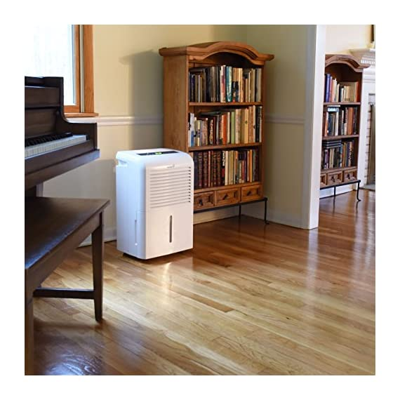 Ivation 4,500 sq ft energy star dehumidifier, large capacity compressor dehumidifier includes programmable humidistat… 2 this compressor dehumidifier keeps spaces up to 4,500 sq. Ft. Cool & comfortable by removing 50 pints of moisture/day (70 pint according to the old doe standards, in 2019 this was classified as 70 pint and it now needs to be classified as 50 pint but it removed the same moisture as the old 70 pint) built-in humidity sensor - the lcd accurately displays the current humidity level in the room, enabling you to set your ideal levels for automatic moisture control low maintenance & easy operation; simply plug-in, select settings & empty 2. 25 gallon reservoir