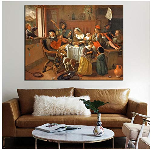 De gelukkige familie muurkunst canvas afdrukken van Jan Havickszoon Steen Dutch Golden Age reproducties schilderijen voor woonkamer muur 40X50cm(15.7 * 19.6inch) Geen frame.