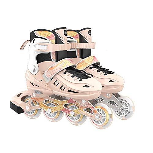 DODOBD Inliner für Kinder Verstellbar Inline-Skates mit leuchtenden Rädern für Kinder und Erwachsene Inline-Skates größenverstellbar über 5 Größen 3 Farben zur Auswahl
