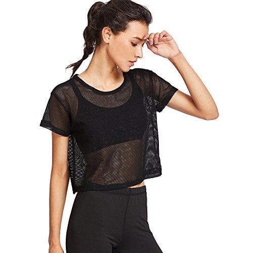 CAOQAO Sport Frauen Schwarz Sexy Atmungsaktiv Cool Mesh Bluse Sport Fitness Shirt
