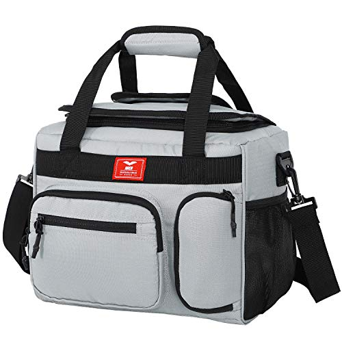 MIER Leakproof Insulated Cooler Lunch Bag for Adult Men Women 30 Can Cooler Bag with Top Flip Lid, 18L, Multiple Pockets (Grey)