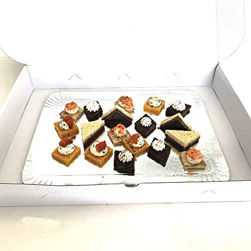 Extiff Lote de 25 Cajas de cartón compactas Blancas para Bandeja de pastelería, pequeños hornos o Pasteles, 25 x 34 x 6 cm
