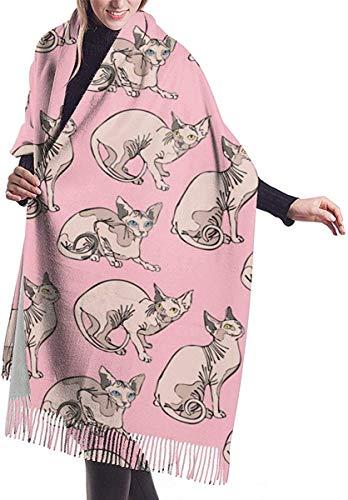 LLOOP Pashmina-Schal für Damen (haarlose nackte Katzen Sphynx Katzenmuster) Rosa