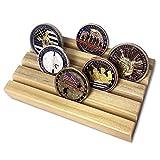 AtSKnSK 4 Reihen Holz Military Challenge Münzständer Halter Sammlerstück Platz für 12–16 Münzen (Eichenholz-Finish) -