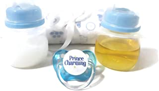 Dunn Associates Inc Reborn Baby Doll Bottles Boy Blue 2oz Prop Fake Milk + Fake Juice + Blanket (Styles Vary) +Prince Charming Pacifier with Putty