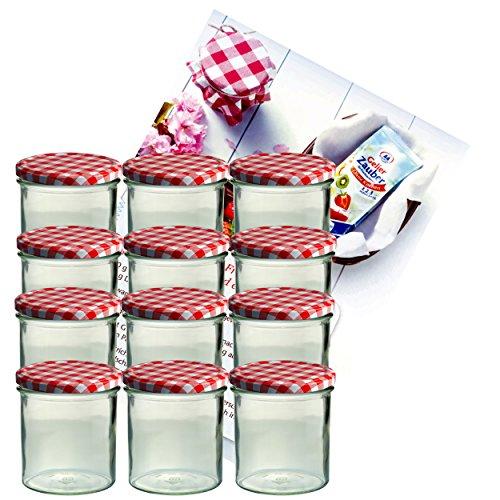 Juego de 12 tarros de mermelada, 350ml – con tapas rojas y blancas a cuadros (TO 82) incluye folleto de recetas de Diamant-Zucker