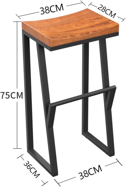 Retro Iron Bar Chair Bar Stool,Solid Wood High Stool Restaurant Household Creative Dining Chair (Size   75CM)