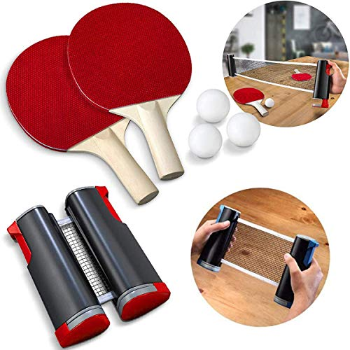 Best Review Of CYQAQ Portable Ping Pong Sets, Retractable Extendable Table Tennis Nets with 2 Bats a...