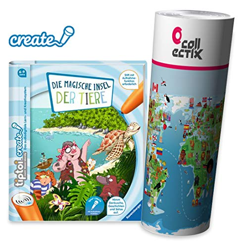 Ravensburger tiptoi ® Create Buch | Die magische Insel der Tiere + Kinder Weltkarte - für Kinder ab 6 Jahre