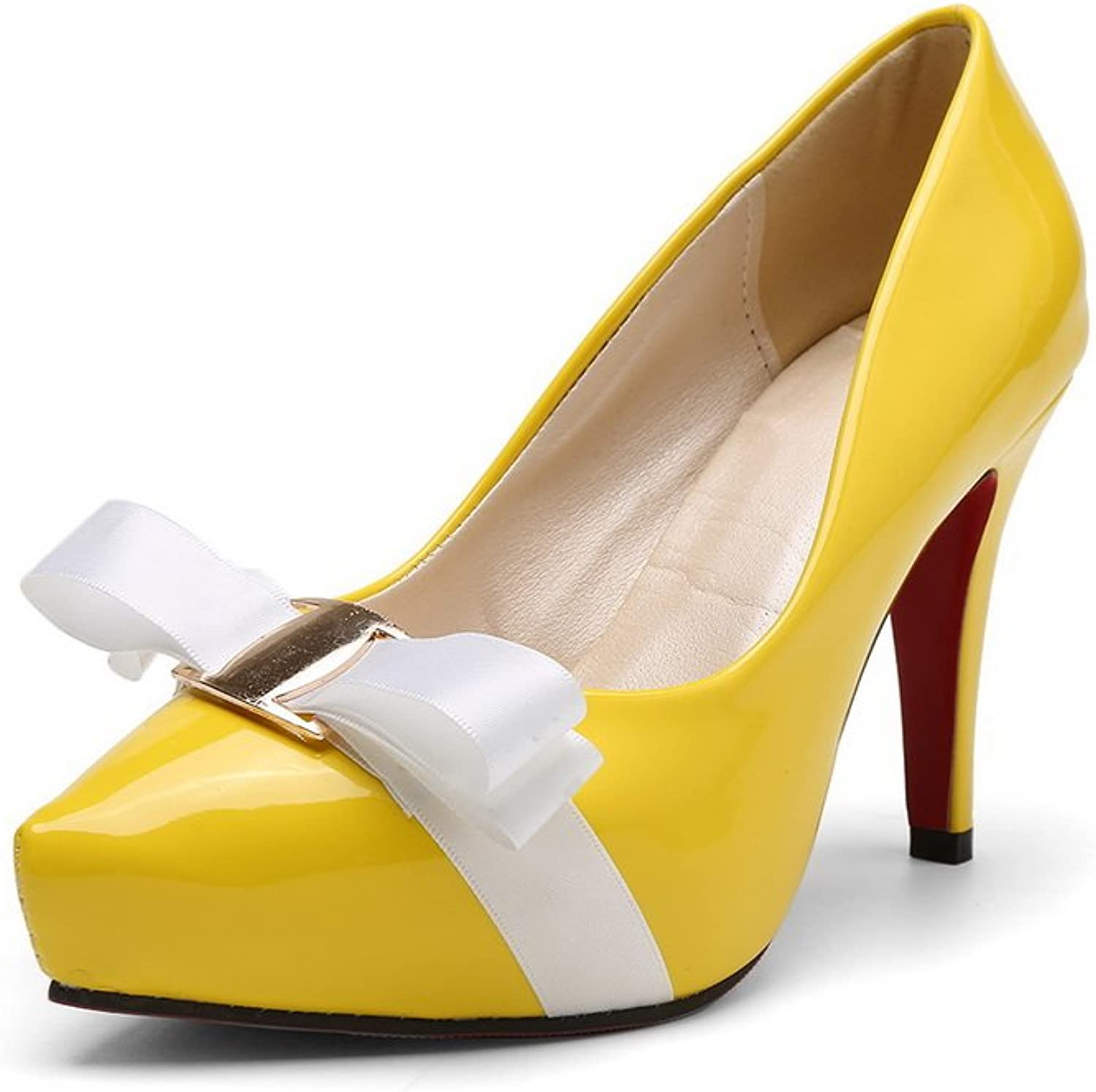 BalaMasa Ladies Pointed-Toe Spikes Stilettos Bows Urethane Pumps shoes