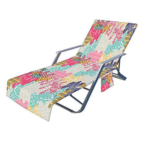 Xuanshengjia Lounge Chair Cover, 82.6''Non-Slip Pool Sun Lounger Cover Mit Seitentaschen, Strandstuhlabdeckungen Für Sun Lounger Pool Sonnenbading Garden Beach Hotel, Einfach Zu Tragen