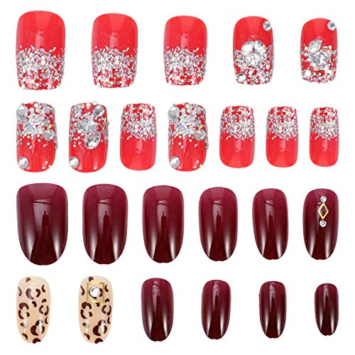 FRCOLOR 48 Pcs Christmas Press on Nails Fake Nails Artificial Nail Tips Nails Full Cover Decor with Drill for DIY Girls Kids Nail Art Decoration (Assorted Color)