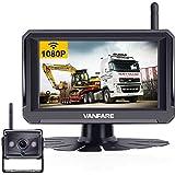 Vanfare V-06 最新二世代HD1080Pワイヤレスバックカメラ バックカメラモニターセット 5インチLCDモニター HDデジタル信号 正像.鏡像切替可能 12v/24v対応 ガイドライン表示 IP69K防水 ノイズ対策 トラック対応 暗視機能付き 2年間保証