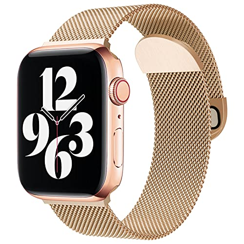 Metal Band Mesh Stanless Steel Magnetic Closure Compatible with Apple Watch Band 38mm 40mm 42mm 44mm, Sport Watch Strap for Women Men Compatible for iWatch Series SE/6/5/4/3/2/1 (New Gold, 42mm/44mm)