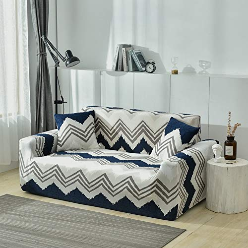 FROZZUR Sofa Slipcovers for 4 Seater, Printed Stretch Sofa Cover, Cover Couch Protector Cover, 1 Sofa Cover and 1 Free Pillow Case(Blue Wave Stripe, 4 Seater)
