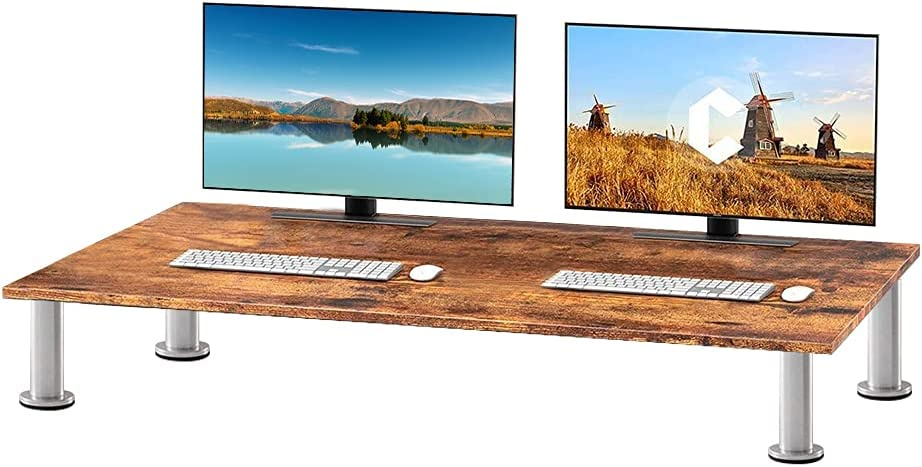 Solid Bamboo Riser Supports The Heaviest Monitors, Printers, Laptops or TVs - Perfect Shelf Organizer for Office Desk Accessories & TV Stands