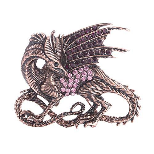JiuErDP Targaryen del dragón del Fuego de la Broche de la aleación pequeño Regalo Accesorios Pin (Paquete de 2) Broches y alfileres