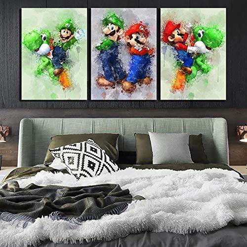 SSHABC Imagen del Cartel del Juego Póster de Imagen de Dibujos Animados de Super Mario e Imagen Mural Impresa para la decoración del hogar de la Sala de Estar -40x60cmx3 Sin Marco