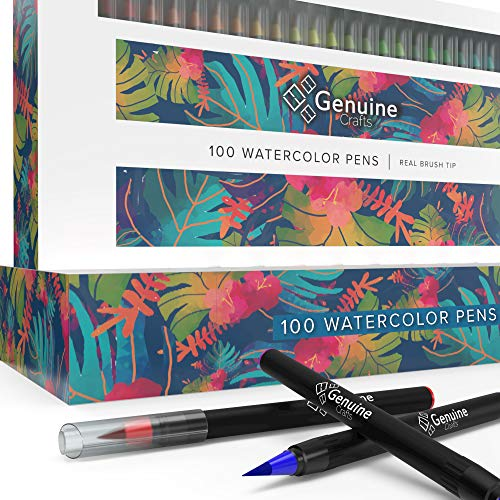 Watercolor Brush Pens by Genuine Crafts - Set of 100 Premium Colors - Real Brush Tips - No Mess Storage Case - Washable Nontoxic Markers - Portable Painting