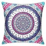 Klotr - Fundas de almohada de estilo bohemio, hippie, hippie, diseño de Nepal indio, estilo hippie, funda de almohada cuadrada, decoración para sofá cama, silla de coche, 45 x 45 cm