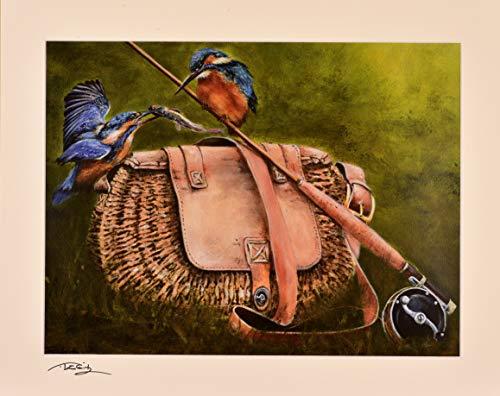 IJsvogel kunstdruk 'Angler onder zich' met originele gesigneerde passe-partout vanille van Thomas Kubitz