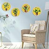 Runinstickers Pegatinas De Pared Creative 4Pcs/Set Pintura Tapiz Vegetal Pegatinas De Pared Mural Poster BTS Adesivo De Parede En La Decoración del Hogar