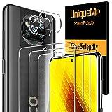 [5 Pack] UniqueMe para Xiaomi Poco X3 NFC [3 Pack] Protector de Pantalla y [2 Pack] Protector de lente de cámara, [Cobertura máxima][Sin Burbujas] HD Cristal Vidrio Templado