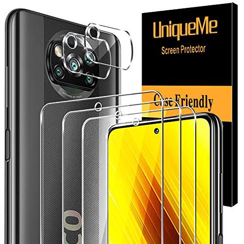 [3+2 Pack]UnqiueMe Schutzfolie Panzerglas Kompatibel mit Xiaomi Poco X3 NFC/X3 Pro & Kamera Folie Schutz, [Anti- Kratzer][9H Festigkeit] panzerglasfolie schutzglas HD klar gehärtetes Glas Bildschirmschutz