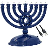 The Dreidel Company Mini Electric Menorah Traditional LED Travel Menora, Batteries or USB Powered, Micro USB 4' Cable Included (Blue)