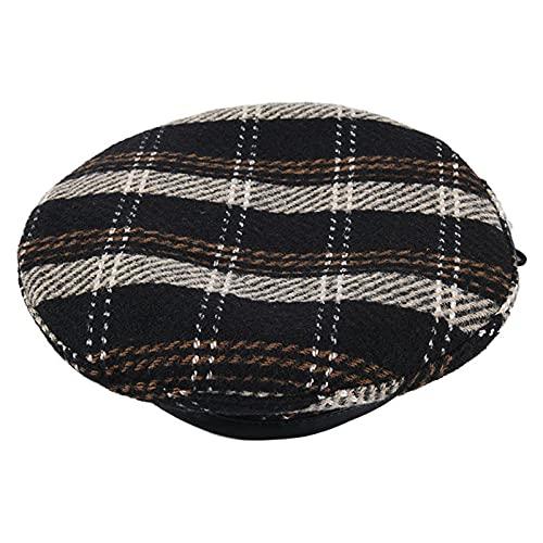 WQZYY&ASDCD Boinas Sombreros Gorras Sombrero Mujer Boina A Cuadros Retro Sombrero De Amigo Sombrero De Moda-Negro_M (56-58Cm)