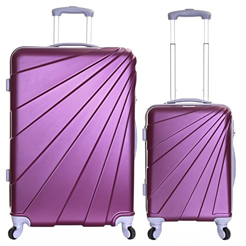 Slimbridge Luggage Set of 2 Hard Shell ABS Suitcases Carry On and Extra Large 4 Wheels Number Lock, Fusion Purple