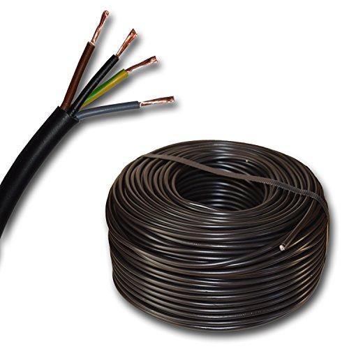 Kunststoff Schlauchleitung rund LED Kabel Leitung Gerätekabel H03VV-F 4x0,75 mm² (mm2) 4G0,75 - Farbe: schwarz 10m/15m/20m/25m/30m/35m/40m/45m/50m/55m/60m usw. bis 250 m in 5 Meter Schritten