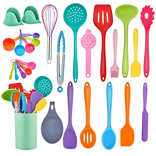 TeamFar Kitchen Utensil Set, 28 PC Silicone Cooking Baking Kitchen Utensil Set for Nonstick Cookware, Spatula Spoon Measuring Cups Whisk Holder, Heat-Resistant & Healthy, Easy Clean & Multi-Color