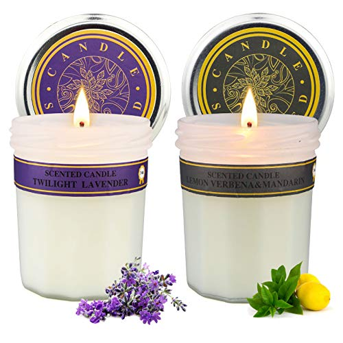 Lavender & Lemon Verbena Scented Candle Sets Gifts for Women, Aromatherapy Soy Candle for Home Scented, Gifts for Friends Women,2 Pack Candles Gift Set