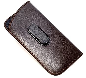 Calabria Unisex Soft Eyeglass Case in Brown Syn Leather&Felt Interior with Clip