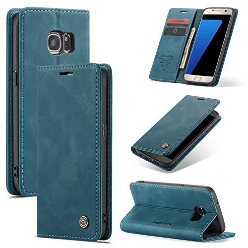 UEEBAI Handyhülle für Samsung Galaxy S7 Edge, Retro Matte Handyhülle PU Fallschutz Lederhülle Weich TPU Klapphülle mit Kartenfach Standfunktion Magnetverschluss Flip Case Handytasche - Blau