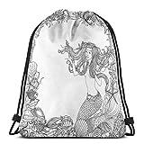 Sanme Mochilas con cordón Bolsas, Sirena en Conchas Marinas artísticas Marco de Arrecife de Coral de Estrella de mar Cultura Antigua Mito Obra de Arte